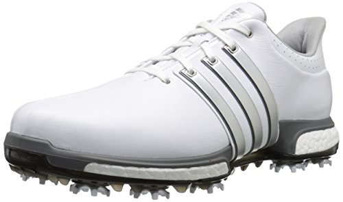 adidas Golf Men's Golf Tour360 Boost Spiked Shoe, White/Silver/Dk Silver, 13 US