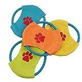 Wysgvazgv perro Frisbee indestructible, Frisbee juguetes flotante cuerda de tela suave perros pequeños gatos cachorros Frisbee jugando volando color al azar