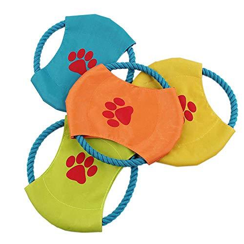 Wysgvazgv Hunde-Frisbee unzerstörbar, Frisbee-Spielzeug, schwimmendes Stoff-Seil, Segeltuch, weich, für kleine Hunde, Katzen, Welpen, Frisbee, spielt fliegende Farbe, zufällige Auswahl