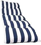 LEMON TREE SL Coussin pour chaise longue ou meuble pour jardin, plage, extérieur Coussin doux pour terrasse, rembourré, déhoussable, fermeture éclair, dimensions 180 x 50 x 5 cm. 180*50*5 Rayure, bleu