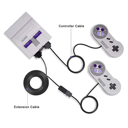 Younik 3M / 10ft Extension Cable for Nintendo Super NES Classic Mini Edition (2017) Controller and NES Classic Mini Edition (2016) Controller (2PCS, Black)