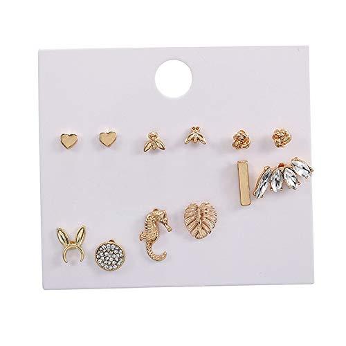 oshhni 6-9 Pares de aretes de aleación Surtidos para niñas Adolescentes Mujeres-Lindo Animal Perla corazón patrón geométrico pequeña declaración Barra - 6 Tipo de par 4