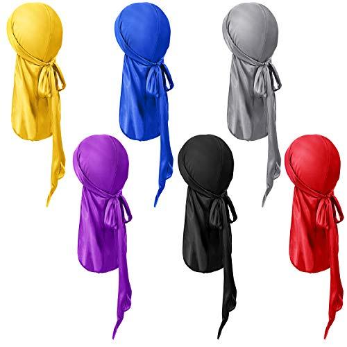 SATINIOR 6 Pieces Kids Satin Silk Durag Caps Wave Wide Strap Headwraps Long Tail Turban Beanies for Boys Girls, Multicoloured, Medium