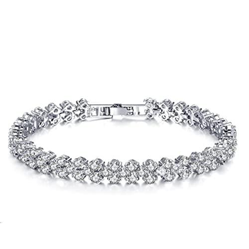 Yean Rhinstone - Pulsera de plata con cadena de cristal para mujeres y niñas