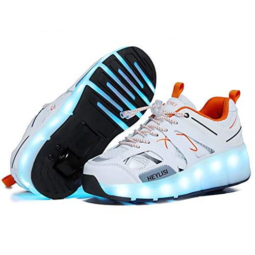 WXBXIEJIA USB Recargable LED Luz Moda Aire Libre Parpadea Ajustable Rueda Roller Automtica De Skate Zapatillas con Ruedas Zapatos Patines Deportes Running Shoes para Unisex,Tamaño (28-40) White-39