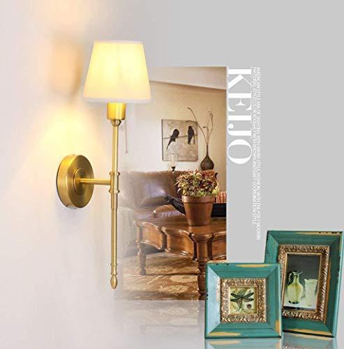 Chenbz Wall Estadounidense Minimalista Retro Pastoral de Cobre lámpara de Pared, lámpara llevada Ahorro de energía de la lámpara incandescente lámparas Sala de Estar Dormitorio de la lámpara d