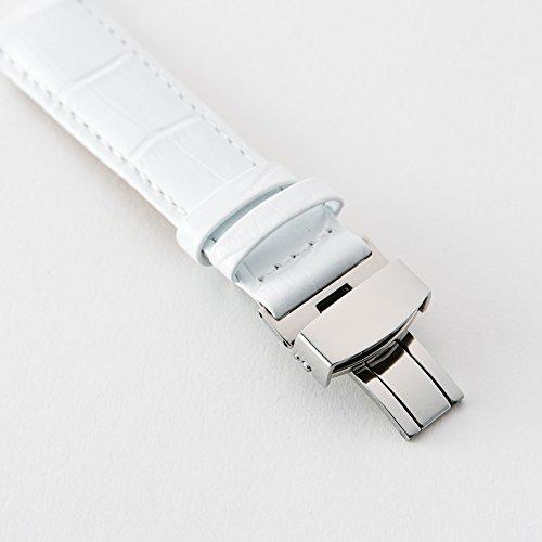 『【タッチ・ザ・スカイ】Touch The Sky 腕時計 ベルト 本革 クロコダイル型押し ベルト白×ステッチ同色/18mm』の4枚目の画像