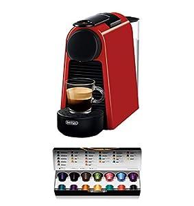 Nespresso De'Longhi Essenza Mini EN85.R - Cafetera monodosis de cápsulas Nespresso, compacta, 19 bares, apagado automático, color rojo, 1, Incluye pack de bienvenida con 14 cápsulas