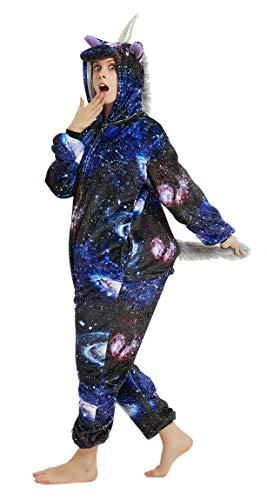 FunnyCos Unisex Tier-Einteiler für Erwachsene, Halloween, Cosplay, Kostüm mit Kapuze, Loungewear Gr. Large, Universum Pegasus