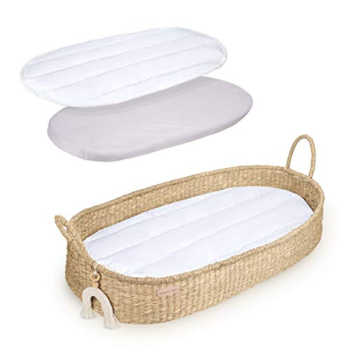Baby Changing Basket - Seagrass Diaper Changing Station - Woven Baby Basket Tray with White Organic Cotton Liner, Pad and Waterproof Cover - Portable Dresser Topper, Nursery Decor and Storage