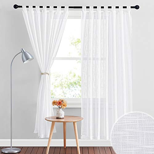 RYB HOME Linen Sheer Curtains - Linen Textured Semi Sheer Curtains for Kids Nursery Bedroom Living Room Window Curtains, 52 inches Wide x 72 inches Long per Panel, 2 Panels, White