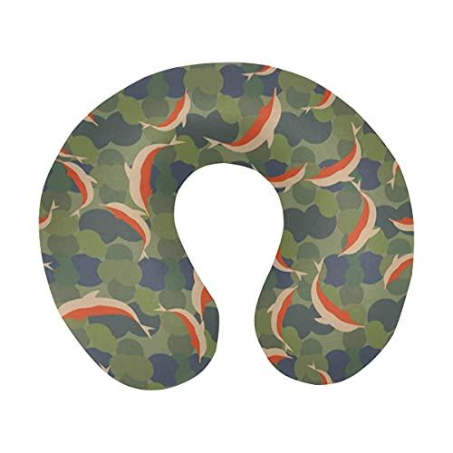 Camuflaje Verde con una bandada de Delfines bajo el Agua Almohada de Viaje de Espuma viscoelástica Cómoda Almohada para el Cuello en Forma de U para avión, automóvil, Oficina, Dormir