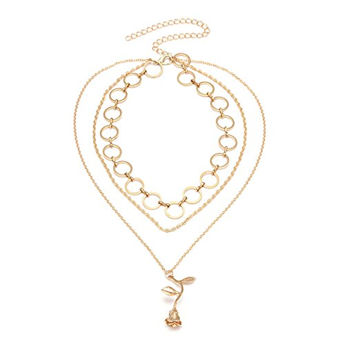 Mode Persönlichkeit Flut Anzug Artikel Verziert Legierung Rose Anhänger Mehrschichtige Schlüsselbein Halskette