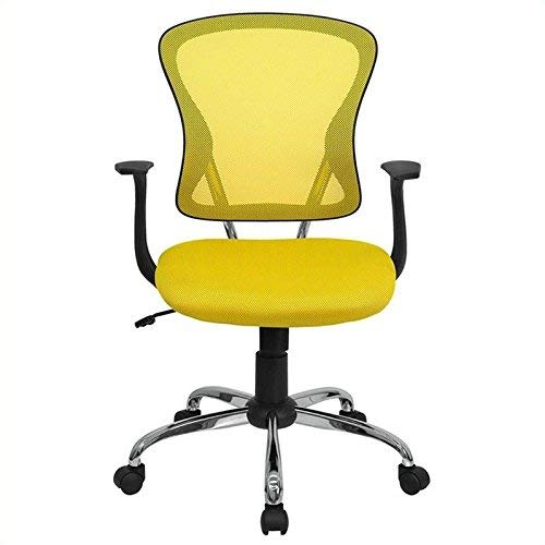Flash Furniture Mid-Back Yellow Mesh Swivel Task Chair with Chrome Base and Arms