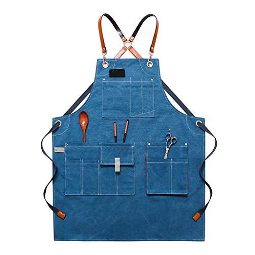 bibididi Delantal De Algodón De Chef De Lona con Espalda Cruzada Ajustable Delantal con Bolsillos Mujeres - Azul