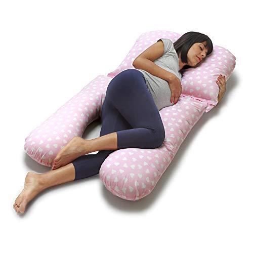 Niimo Gamma Schwangerschaftskissen zum schlafen U-förmiges Stillkissen mit Extern Bezug aus 100{f2fd08d3bdd9c6c60e007e19f89ae2ac4c6d210adae2d1f323ce1421fcea6132} Baumwolle Lagerungskissen Seitenschlaferkissen fur Mutter und Baby (Rosa-Weiß Herz)