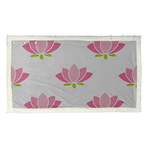 Mooie lotusbloemen patroon wikkelsjaal deken vrouwen wikkelsjaal 53x30 inch met 3 knoppen voor bank in vrije superzachte draagbare deken schattige warme deken