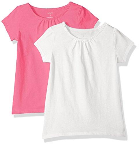 Carter's Girls' Toddler 2-Pack Tees, White/Pink, 3T