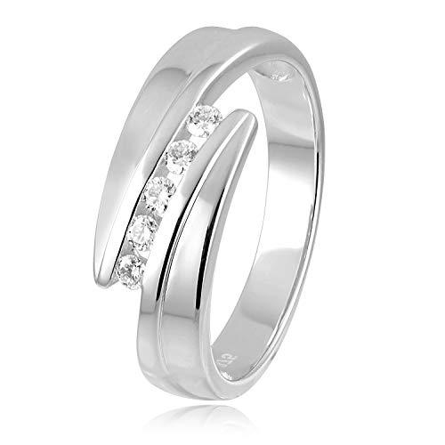 Diamond Line Damen-Ring 375er Weißgold 5 Diamanten ca. 0,15 ct.