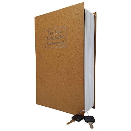 Caja de seguridad para libros con cierre de llave, caja fuerte portátil para guardar dinero, joyas y otros documentos (grande (26,7 x 20,3 x 7 cm), color marrón