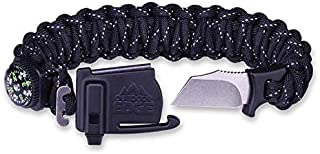 OUTDOOR EDGE ParaSpark Paracord Survival Braclet with Knife, Whistle, Fire Starter & Compass