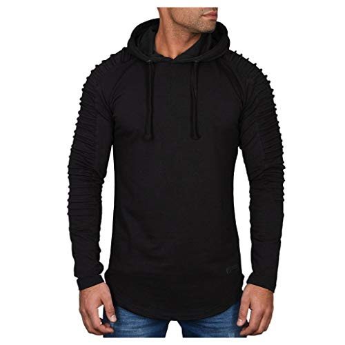 Xmiral Herren Sweatshirt Top Herbst Langarm Plaid Hoodie Mit Kapuze T-Shirt Outwear Streetwear Kapuzenpullover Outdoor Sportbekleidung(Z2 Schwarz,S)
