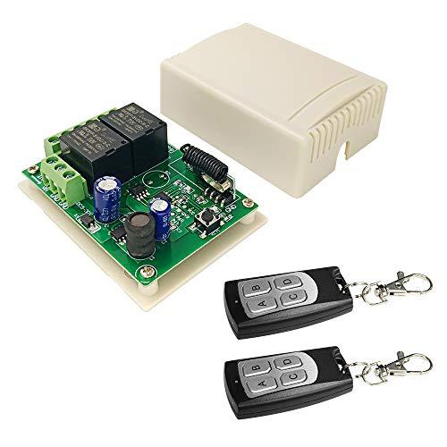 QIACHIP DC 24V Inalámbrico RF Control Remoto Módulo de relé Interruptor Receptor 2 Canales 433Mhz with 2 transmisores para Motor de CC, Cerradura de Control eléctrico, Sistema de Control de Acceso