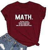 BLACKMYTH Women Cute Tees Graphic Funny Tshirts Wine Red Large