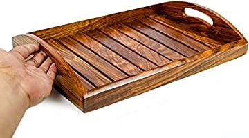 SKAFA Wooden Crafted Serving Tray | Kitchen Decor | Wood Craft | Dinner Food Cart | 12x8 inches