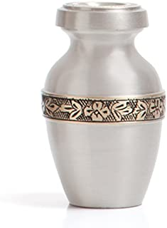 Funeral Urn by Liliane - Keepsake Cremation Urn for Human Ashes - Hand Made in Brass and Hand Engraved - Fits a Small Amount of Cremated Remains of Adults as Well as the ashes of dogs, cats or other pets - Display Keepsake Burial Urn at Home or Office ..