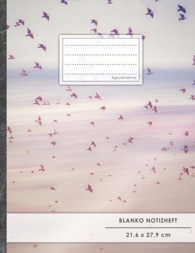 """Blanko Notizbuch • A4-Format, 100+ Seiten, Soft Cover, Register, """"Vogelschwarm"""" • Original #GoodMemos Blank Notebook • Perfekt als Zeichenbuch, Skizzenbuch, Sketchbook, Leeres Malbuch"""