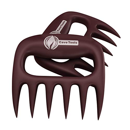 Cave Tools Meat Claws for Shredding Pulled Pork, Chicken, Turkey, and Beef- Handling & Carving Food - Barbecue Grill Accessories for Smoker, or Slow Cooker - Merlot
