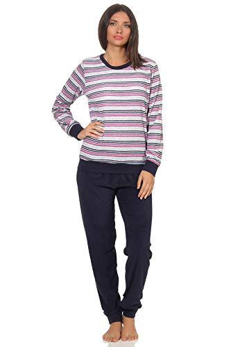 RELAX by Normann Eleganter Damen Frottee Pyjama Langarm mit Bündchen in Streifenoptik - 291 201 13 778, Farbe:Navy, Größe2:40/42
