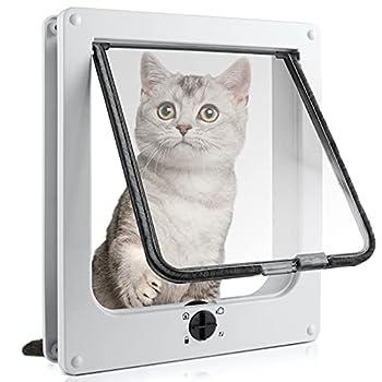 Sailnovo Chatière pour Chat avec Magnétique à 4 Voies, pour Bois, Verre, PVC, pour Chats et Petits Chiens, Porte pour Chat avec Tunnel 14.5 x 15.5 x 5.5cm - Blanc