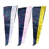 ABOOFAN 3 piezas de collar de estola de satén brillante unisex para el año sénior, diseño de flores, para graduación, estilo blanco, rosa, amarillo