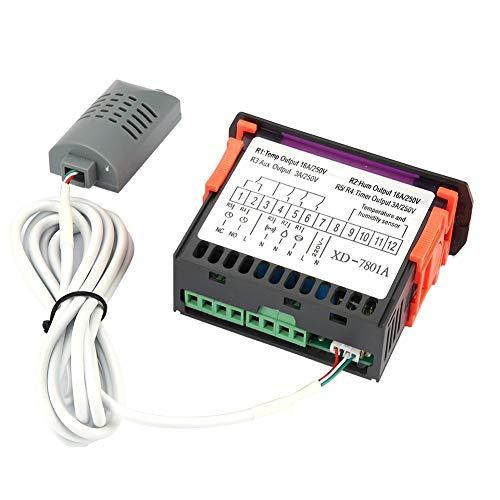 Temperaturregler, digitaler LED-Temperatur- und Feuchtigkeitsregler, automatischer Temperaturregler-Thermostat für die Temperaturregelung des Inkubator-Klimakammerlagers, 100-240 VAC