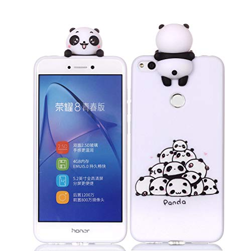 LAXIN Cute 3D Panda Case for Huawei P8 Lite (2017),Ultra Slim Fit Soft Silicone Gel Bumper Shockproof Protective Cartoon Phone Case with Lovely Animal Pattern for Huawei P8 Lite (2017),White