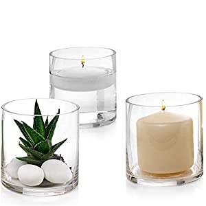 Silk Flower Arrangements Set of 3 Glass Cylinder Vases 4 Inch Tall - Multi-use: Pillar Candle, Floating Candles Holders or Flower Vase – Perfect as a Wedding Centerpieces.