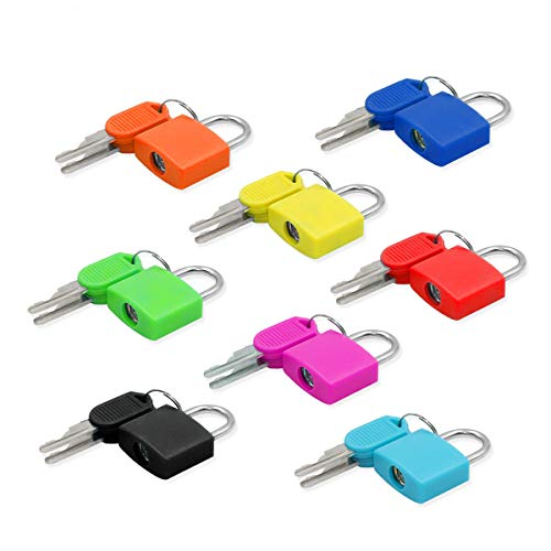 8Pcs Luggage Locks Small Multicolor Padlocks with 2 Keys Sturdy Padlocks for Outdoor Travel Luggage Suitcase Baggage School Gym Lockers Laptop Bag