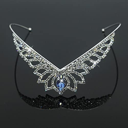 YUANBOO Strass Prinzessin Krone Blumen Hochzeit Braut Tiara Kronen Stirnband Mode Haar Ornament Schmuck (Metal Color : Blue)