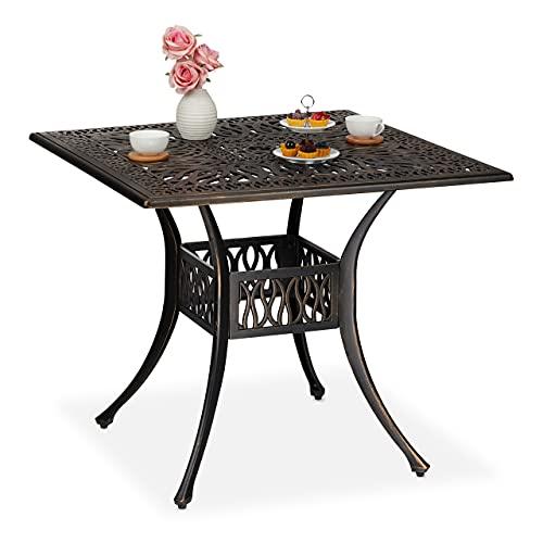 Relaxdays jardín con Orificio para sombrilla, Aspecto Antiguo, Aluminio Fundido, 75 x 90 x 90 cm, Mesa Cuadrada para balcón, Negro/Bronce