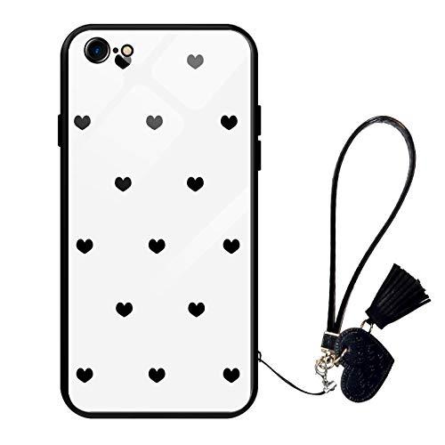 Oihxse Moda Case Compatible para iPhone 7+ Plus/8+ Plus Funda Vidrio Templado con Cuerda Cordón TPU Silicona Suave Bumper Cover Anti-Choques Anti-Rasguños Cáscara de Cristal Estuche,A8