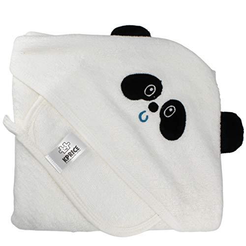 KPRICE - Accappatoio Neonato da bagno con cappuccio 90x90 - Asciugamani in flanella 100% bambù Organico - Ultra morbido assorbente - bambino - 1 asciugamano viso piccolo - Bambini (Panda)