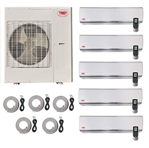 YMGI Ductless Mini Split Air Conditioner with Heat Pump Five 5 Zone 60000 BTU 9000 9000 9000 9000 24000 5 Ton Wall Mount with 25 Ft Line Set Installation
