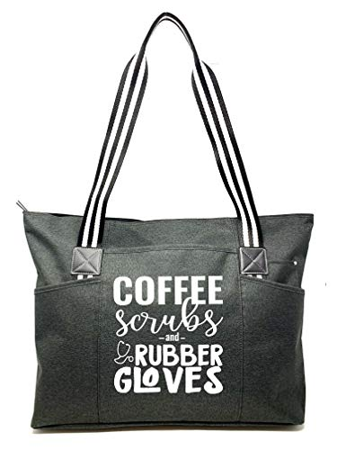 Large Nursing Zippered Tote Bags with Pockets for Nurses - Perfect for Work, Gifts for CNA, RN, Nursing Students (Coffee Scrubs Rubber Gloves Black Tessa)