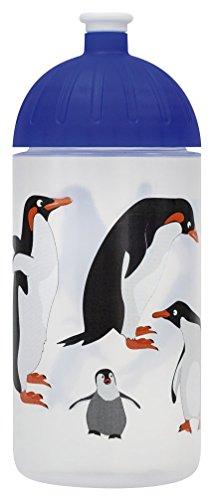 ISYbe Original Marken-Trink-Flasche für Klein-Kinder, 500 ml, BPA-frei, Pinguin-Motiv für Mädchen & Jungen, für Schule-Reisen-Kita-Kiga-Outdoor, Auslaufsicher auch mit Sprudel, Spülmaschine-fest