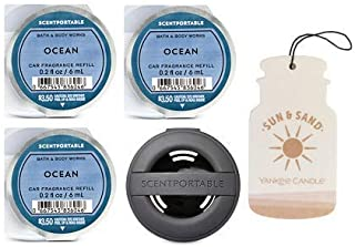 Bath and Body Works Black Soft Touch Vent Clip Car Fragrance Holder & 3 Scentportable Ocean. Paperboard Car Fragrance Sun & Sand.