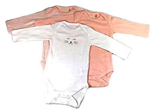 Ventilkappenkönig Baby Bio Baumwolle Body Pyjama Strampler Kleinkind Neugeborene 1er 2er 3er Sets für 0-24 Monate (3er Body Pink Weiß Lang, 74-80)