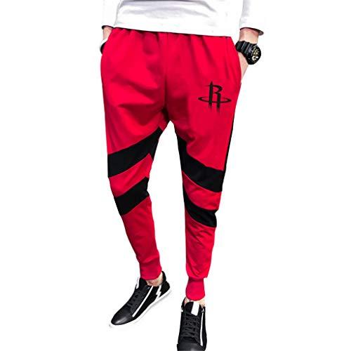 JNTM Deportes para Hombre Pantalones NBA Houston Rockets Atletismo Baloncesto De La Manera Pantalones Deportivos Pantalones Cómodos Ocasionales Logo Flojo del Equipo para La Juventud Red-XL