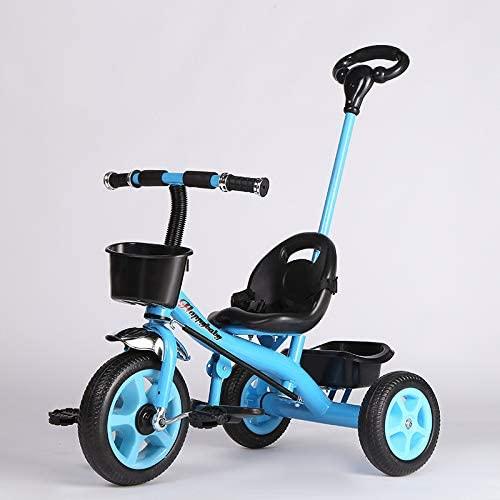 JHDPH3 Bicicleta de Juguete de Tres Ruedas for bebés for niños, 3-6 años de Edad, Cochecito de Seguridad, cinturón de Seguridad, Proteger Regalos for bebés (Color : Blue)